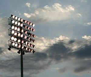 An 8 x 8 array of lamps on a pole, against an early evening sky
