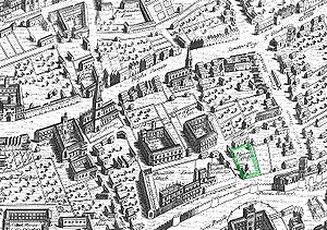 A bird's-eye view of a city, showing a city wall, churches, colleges, other buildings and gardens