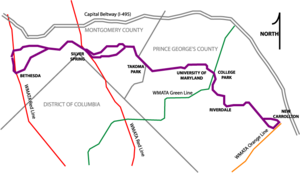 A scaled map illustrating the Purple Line route and its intersections with existing subway lines.