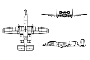 Orthographically projected diagram of the A-10