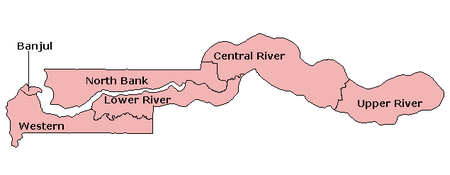 A clickable map of The Gambia exhibiting its five divisions and capital.