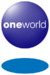 A blue orb with the word Oneworld in the middle and a blue disc below