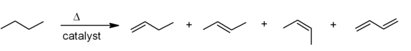 Dehydrogenation of butane to give butadiene and isomers of butene