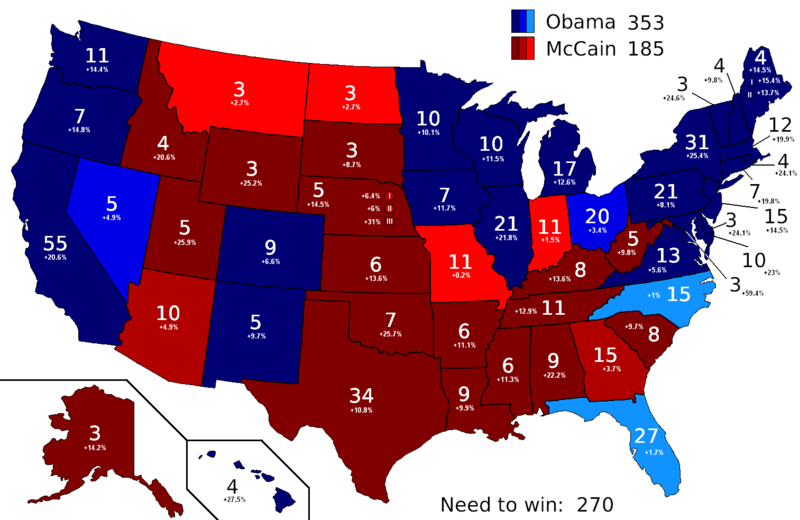 Current 2008 US Electoral College Polling Map.PNG