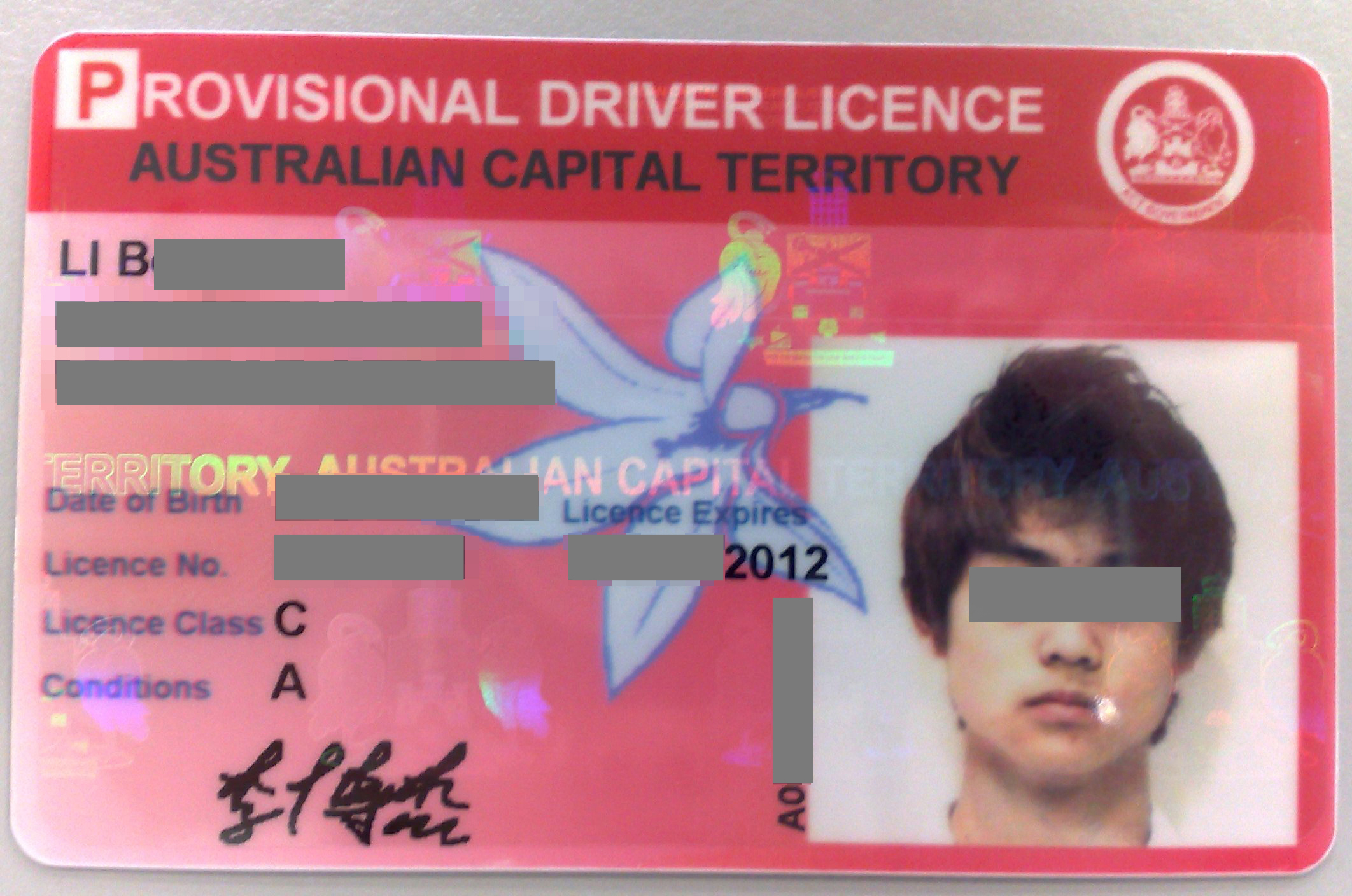 Act motorcycle licence