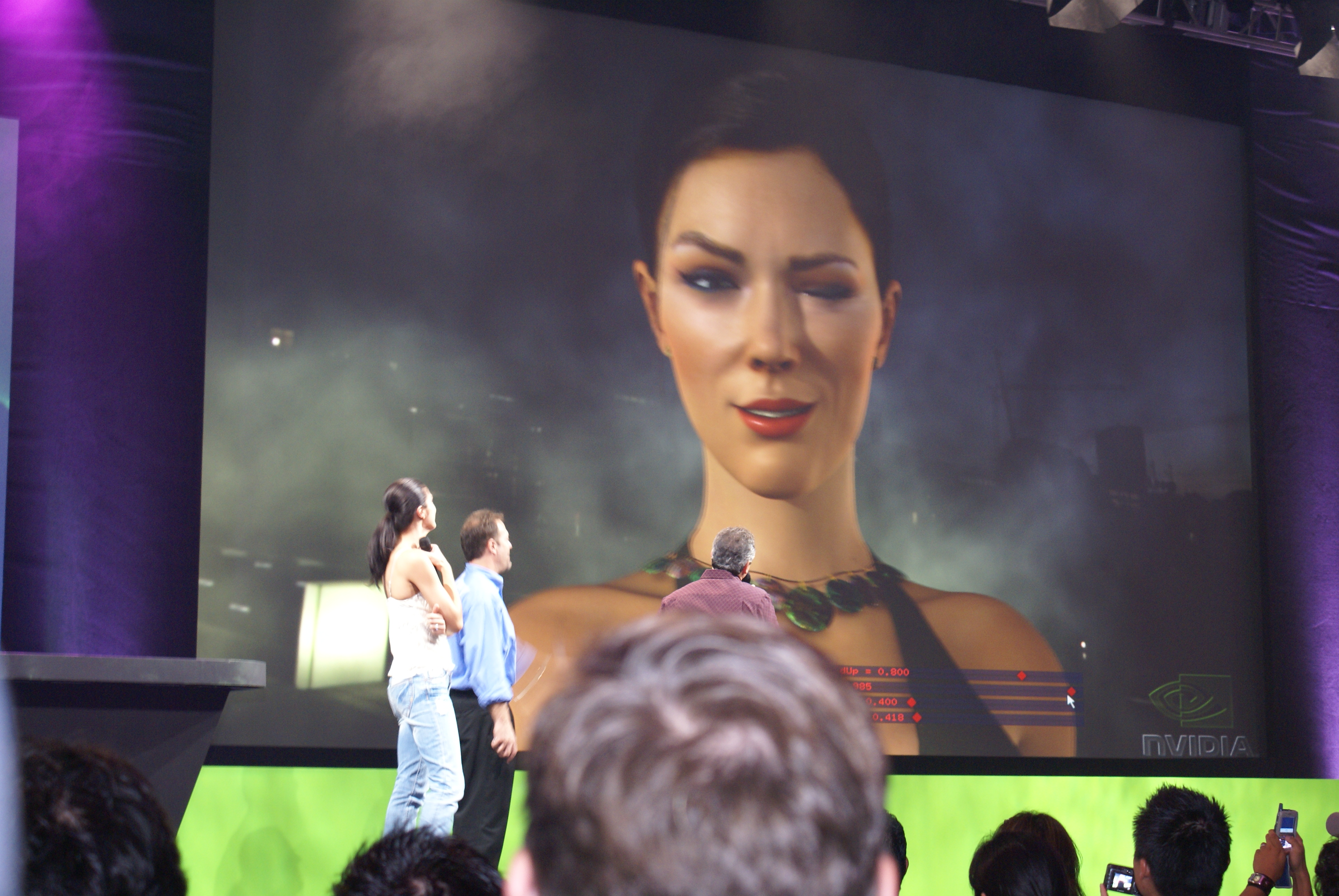 Geforce 8 Series Vga Pci 256 Mb Ddr2 8400gs 8300gs Model Adrianne Curry Watching A 3d Animation Of Herself During Demo