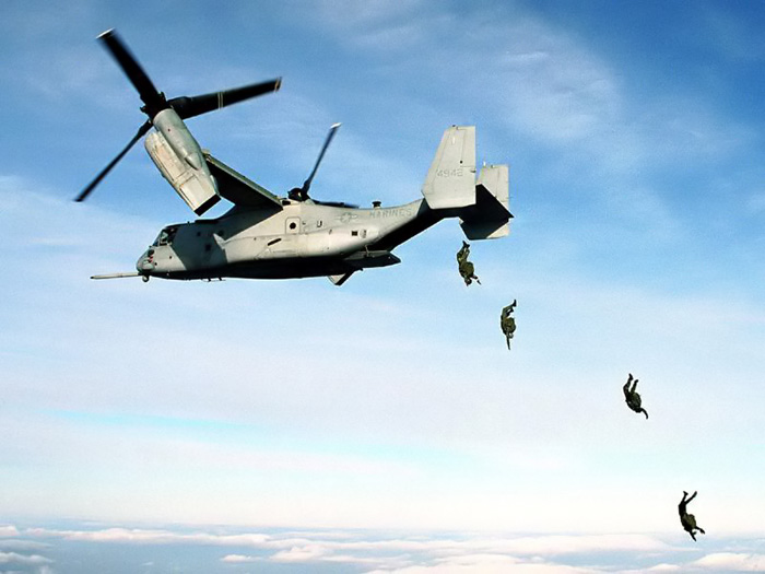 bell boeing v 22 osprey PT Boat Diagram four u s marine paratroopers jump from the rear loading r of a mv 22 osprey