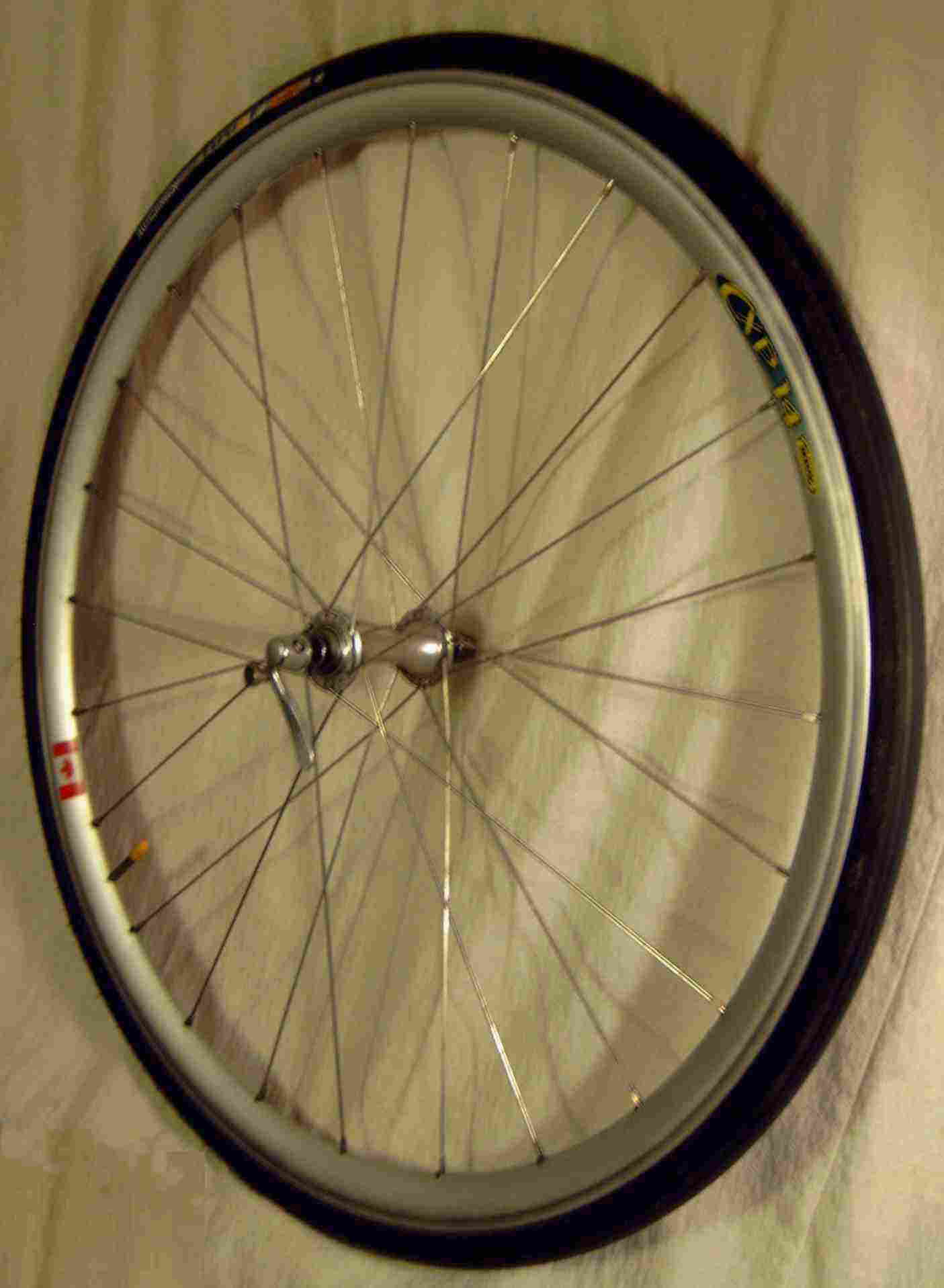 a9f49949452 The front wheel from a racing bicycle made using a Mavic rim