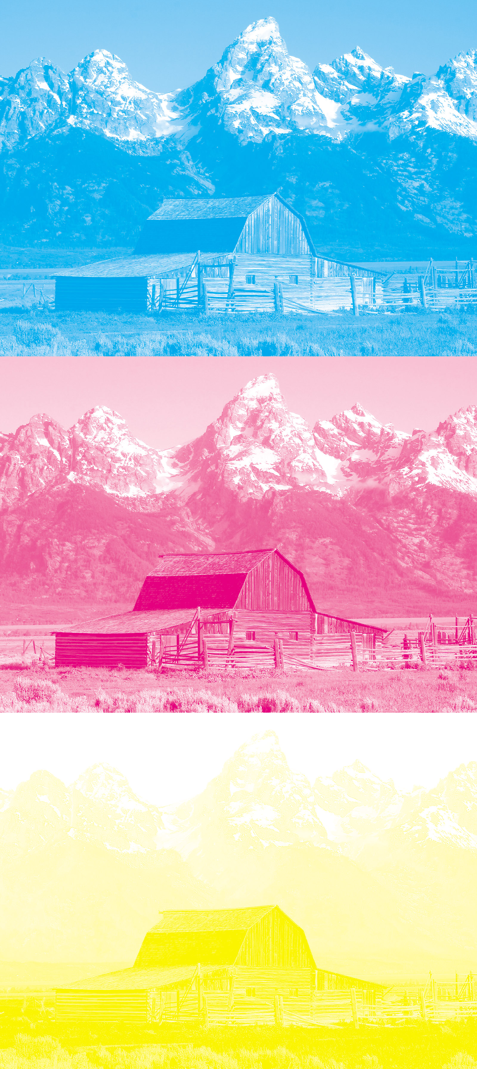 The Image Above Separated For Printing With Process Cyan Magenta And Yellow Inks