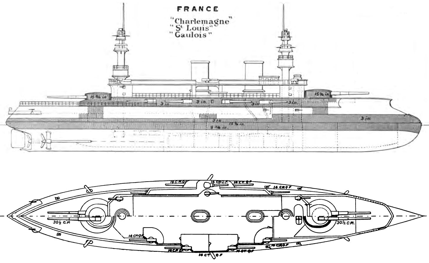 Charlemagne class battleship right elevation and deck plan as depicted in brasseys naval annual 1896 malvernweather Images
