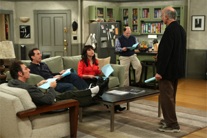 Larry David With The Cast Of Seinfeld During The Reunion In The Seventh Season