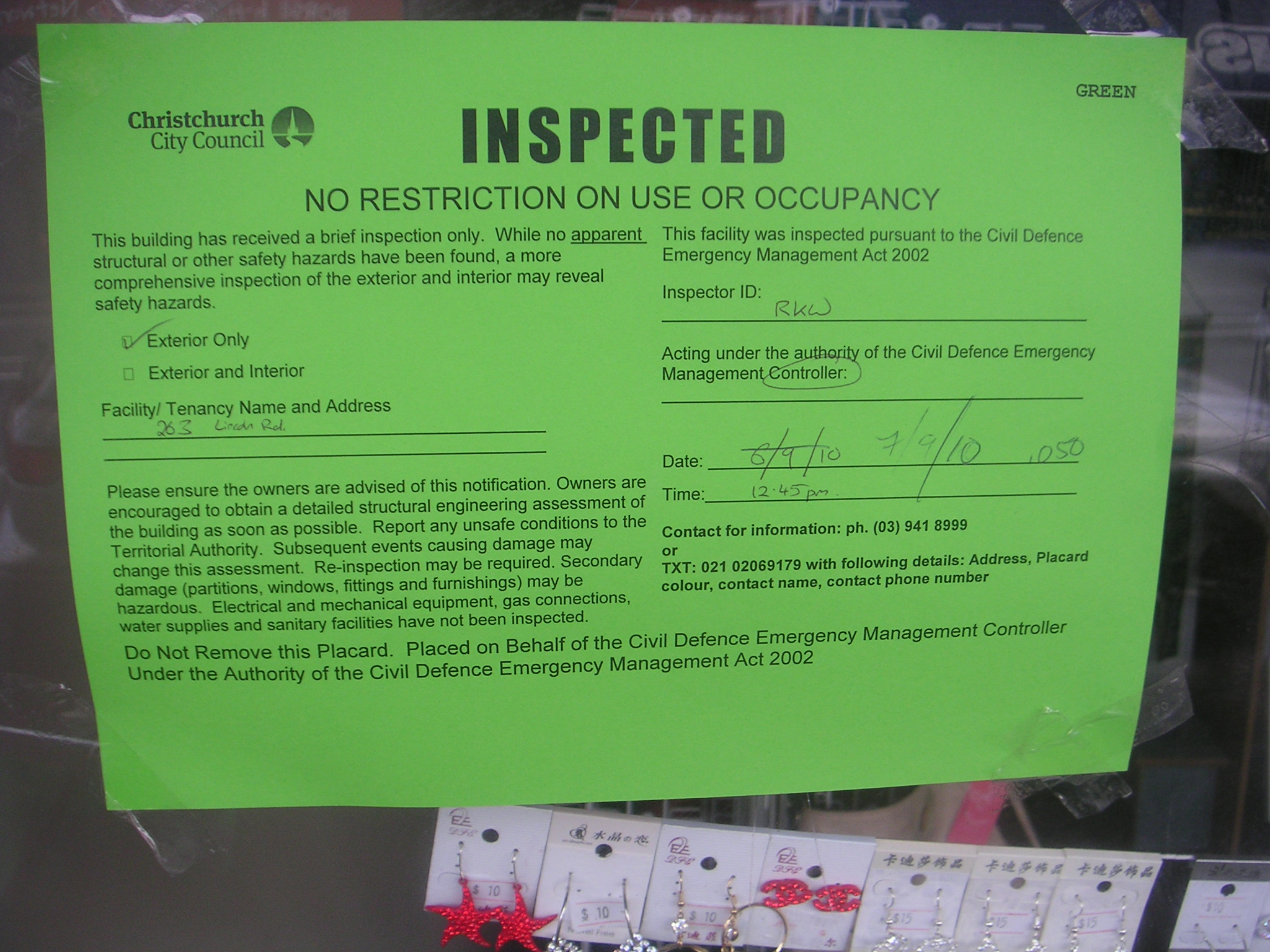 A Structural Inspection Notice Verifies As Safe For Use