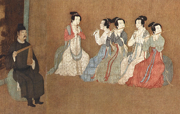 12th century Chinese painting of The Night Revels of Han Xizai (韩熙载夜宴图) showing musicians dressed in Hanfu
