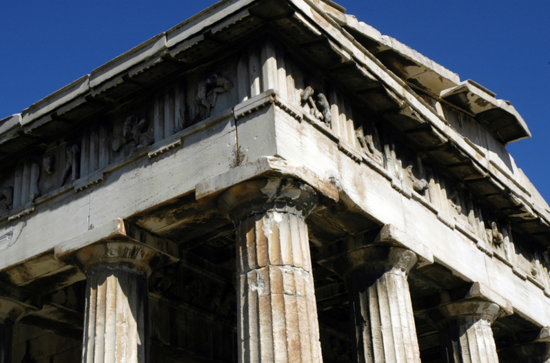 The Entablature Of Hephaisteion Temple Hephaistos In Athens Showing Doric Frieze With Sculpted Metopes