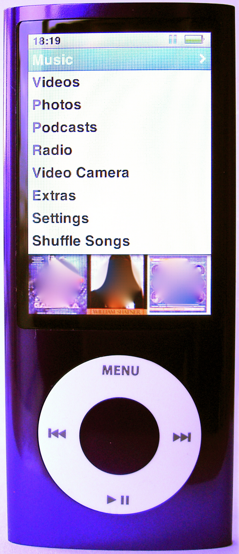 5, Purple iPod Nano 5G with camera, front and back views