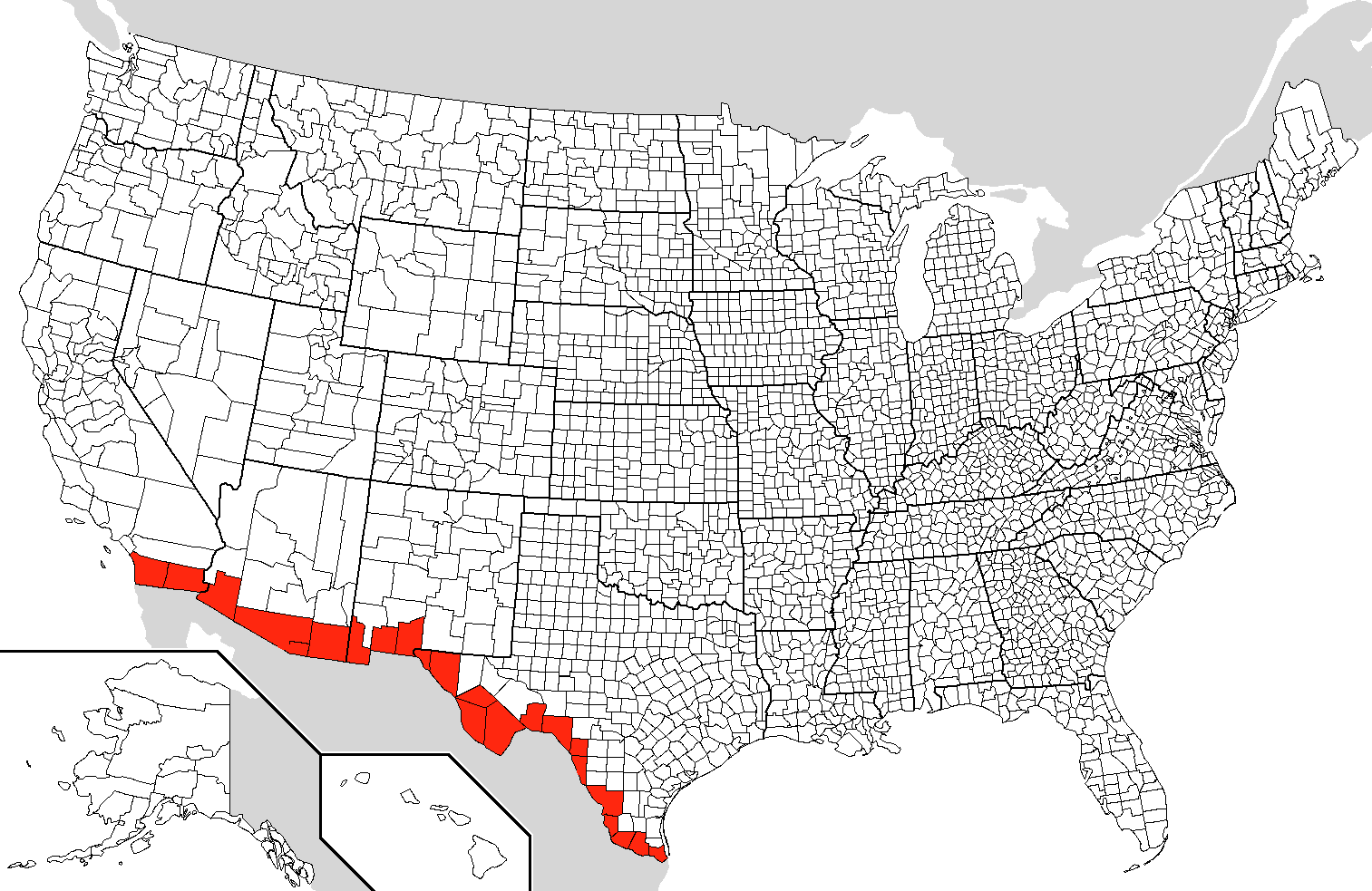 MexicoUnited States Border - Mexico us map