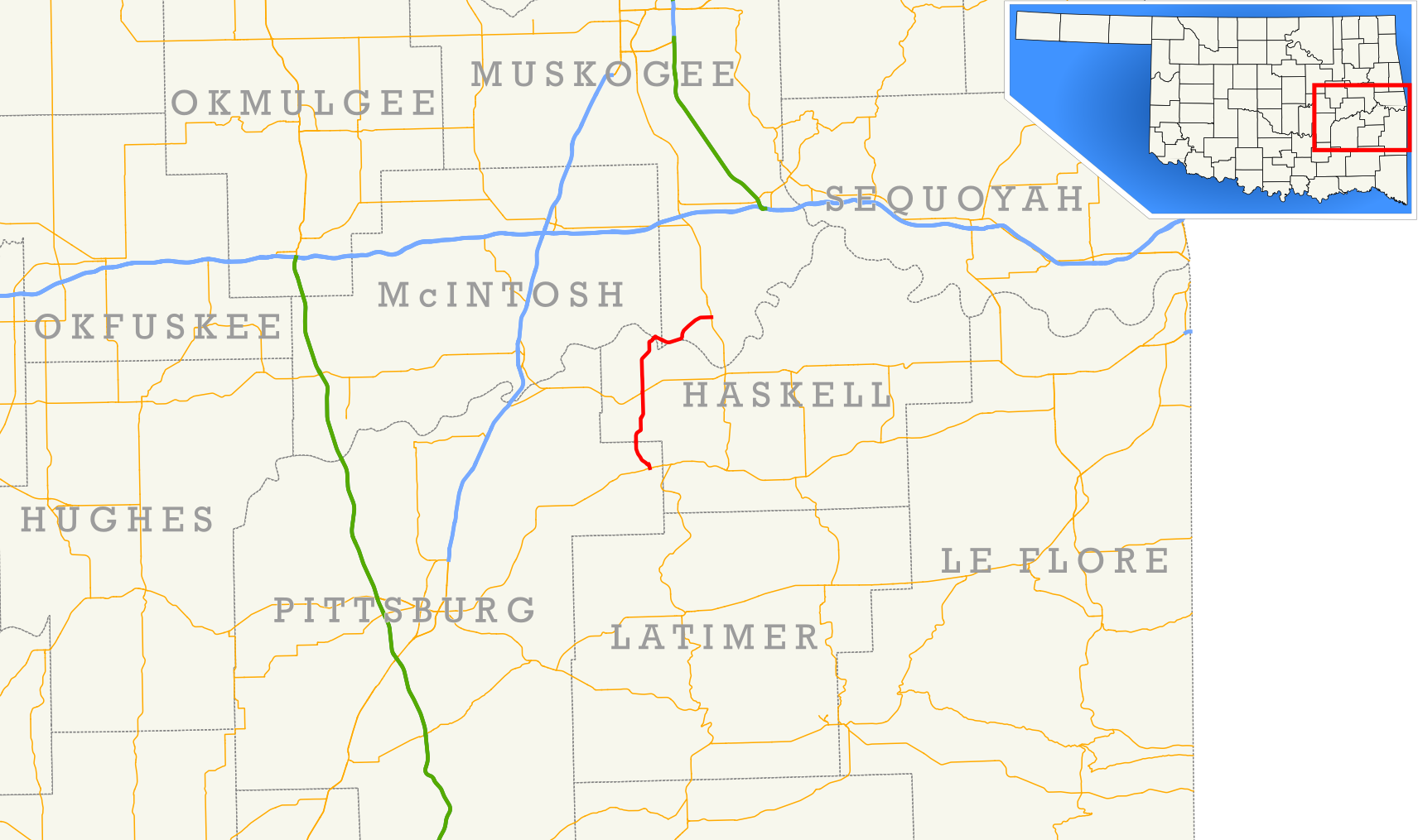 Oklahoma State Highway - Us highway 71 map