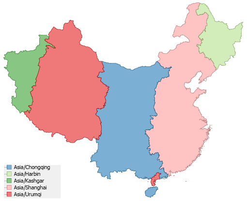 Time In China - China time zone map