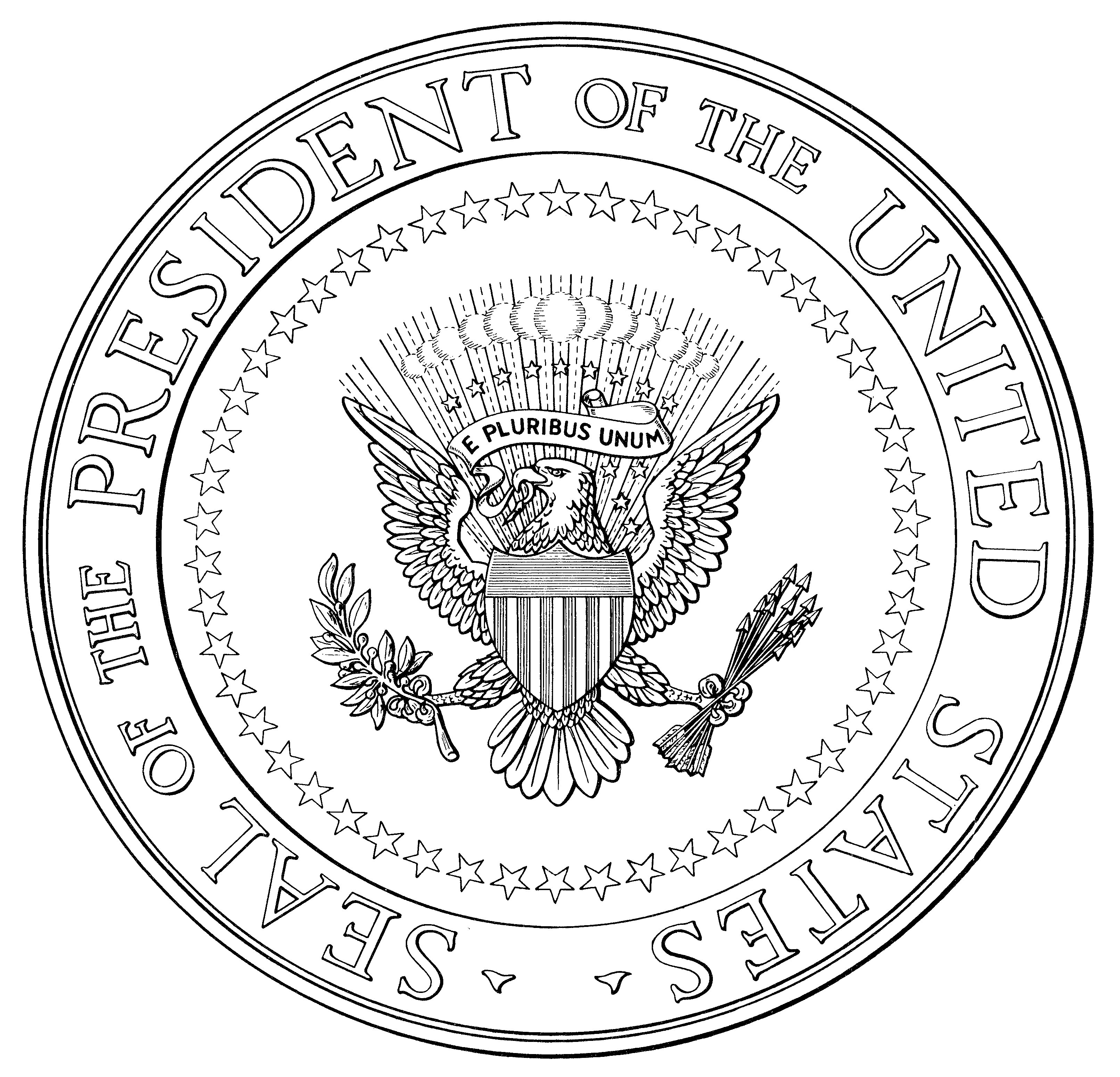 President Seal Color Sheet - Worksheet & Coloring Pages