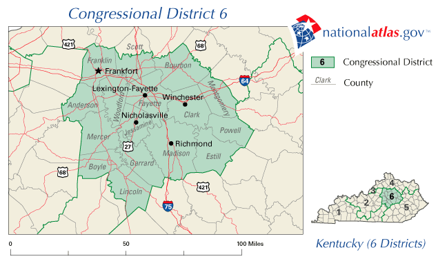 Kentuckys Th Congressional District - Us house of representatives map by state